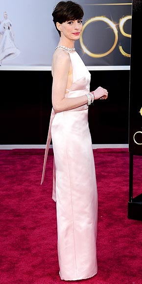 Best Supporting Actress winner Anne Hathaway in Prada