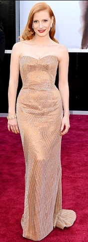 Best Actress nominee Jessica Chastain in Armani