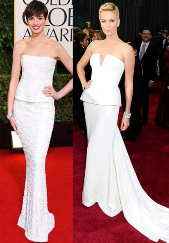 Anne Hathaway at the Globes in Chanel, Charlize Theron in Dior Haute Couture at the Oscars